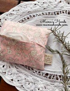 (cp-693) リバティ 淡い ピンク 花柄 ポケットティッシュ ケース(ハンドメイド)