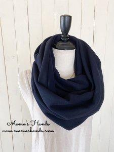 (cp-709) ★3点限定★ ラムウール Lamb's wool  紺色 良品質 スヌード(ハンドメイド)