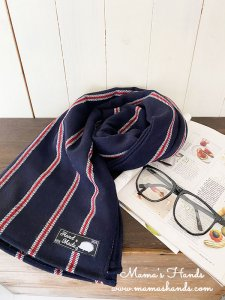(cp-711) 紺 x 赤 大きめ ウール100%  ストライプ 中厚 良品質 秋 冬 ストール ショール(ハンドメイド)