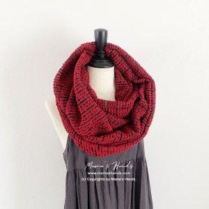 (cp-803) レッド 赤 x 黒 ループ 織り 良品質 スヌード(ハンドメイド)