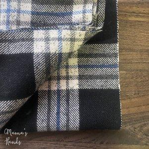 (cp-843) 150x35 黒 青 白 チェック ウール100%  良品質 はぎれ 生地