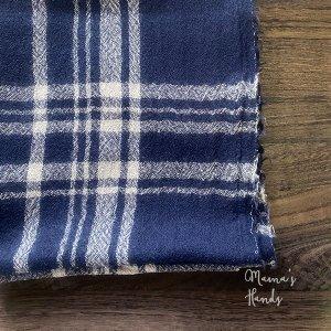 (cp-845) 150x45 ナチュラル ネイビー 紺色 チェック ウール100%  良品質 はぎれ 生地