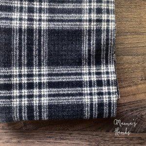(cp-849) 148x36  黒グレー x 白 チェック ウール 100% 良品質 はぎれ 生地