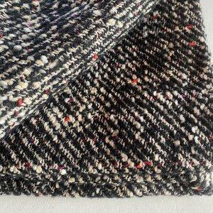 (cp-885) 73x50 ツイード 黒 カラフル ウール混 良品質 はぎれ 生地