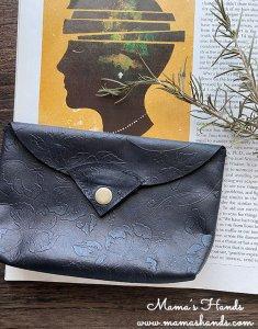 (cp-960)  革 花柄模様 黒 ブラック お財布/ カードケース / ポーチ(ハンドメイド)