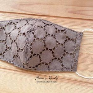 (cp-967) 刺繍 ベージュ 円形 綿100% ガーゼ 大人用 立体型 エコ 布マスク(ハンドメイド)