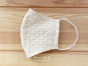 (cp-968) 刺繍 生成り 小 円形 綿100% ガーゼ 大人用 立体型 エコ 布マスク(ハンドメイド)