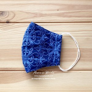 (cr-8) 青刺繍 オーガンジーレース ガーゼ 大人用 立体型 エコ 布マスク(ハンドメイド)