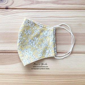 (cr-9) リバティ 黄色 花柄 綿ニット100% 薄手系 大人用 立体型 エコ 布マスク(ハンドメイド)