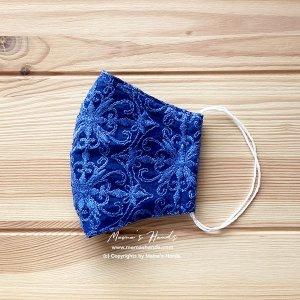 (cr-8) 青 刺繍 レース 大人用 立体型 エコ 布マスク(ハンドメイド)