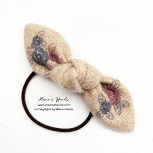 (cr-56) 刺繍 リネン ウール 花柄 リボン ヘアゴム♪(ハンドメイド)