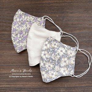 (cr-106) 3枚 リバティ ラベンダー 紫 花 フラワー 綿100% ガーゼ 大人用 立体型 エコ 布マスク(ハンドメイド)