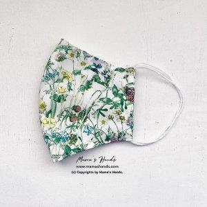 (cr-125) リバティ 植物 花柄 グリーン 綿100% 薄手系 大人用 立体型 エコ 布マスク(ハンドメイド)