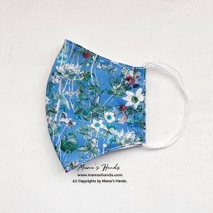 (cr-126) リバティ 植物 花柄 ブルー 綿100% 薄手系 大人用 立体型 エコ 布マスク(ハンドメイド)