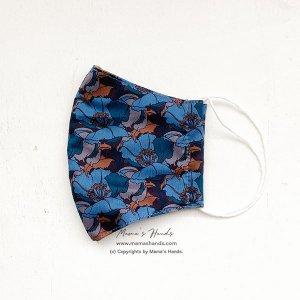 (cr-129) リバティ 青花 茶色 綿100% 薄手系 大人用 立体型 エコ 布マスク (ハンドメイド)