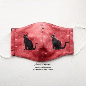 (cr-181) ネコ ねこ 猫 サーモンピンク 秋冬マスク 綿100% 編みニット ガーゼ 大人用 立体型 布マスク(ハンドメイド)
