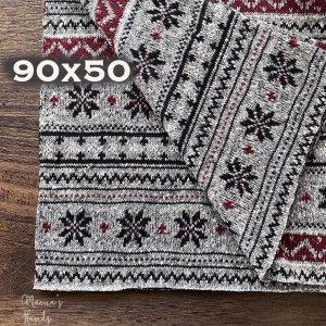 (cr-190) 90x50 雪柄 グレー  綿100% ニット はぎれ 生地