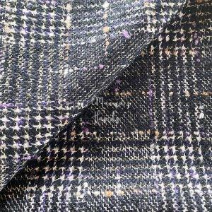 (cr-255) 73x 50 黒 紫 ベージュ ホワイト チェック ウール 良品質 はぎれ 生地