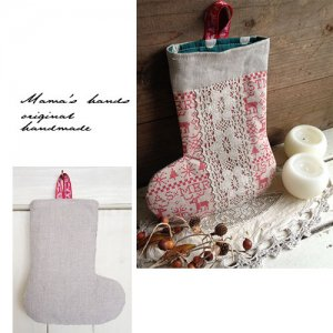 (Pcj-189) 型紙&説明書 リネン クリスマス ブーツ 袋 ポーチ  作り方