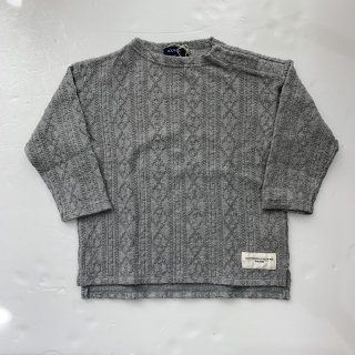 SOLBOIS  ケーブル編みモックネックTシャツ 杢グレー13