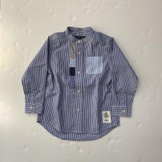 SOLBOIS  ストライプスタンドカラーシャツ ブルーベース・25