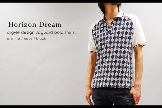 【Horizon Dream】ジャガード織りアーガイルデザイン・ラグランスリーブポロシャツ