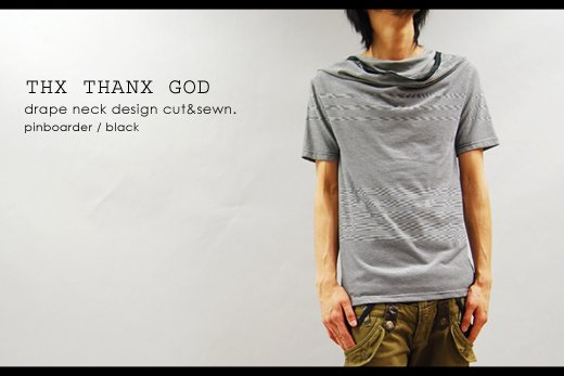 【THANX GOD】フェイクレイヤードデザイン・ドレープネック半袖TEE<img class='new_mark_img2' src='https://img.shop-pro.jp/img/new/icons20.gif' style='border:none;display:inline;margin:0px;padding:0px;width:auto;' />