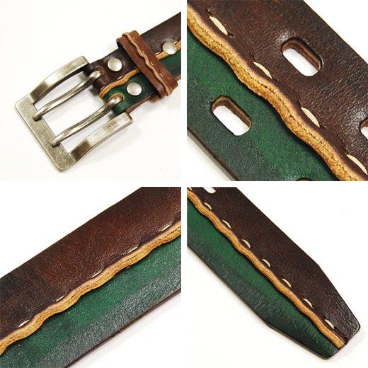 【Vintage Leather】2トーン&フロントステッチデザイン・ヴィンテージレザーベルト詳細3
