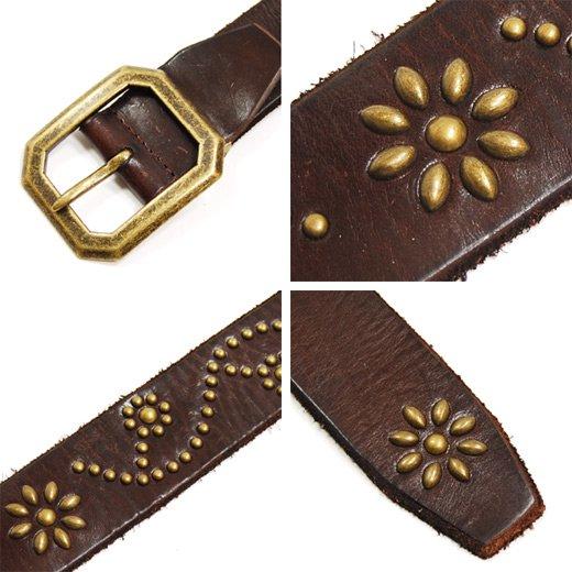 【Vintage Leather】フラワーデザインスタッズ・ヴィンテージレザーベルト詳細3