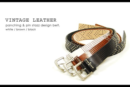 【Vintage Leather】パンチング&ピンスタッズデザイン・ヴィンテージレザーベルト
