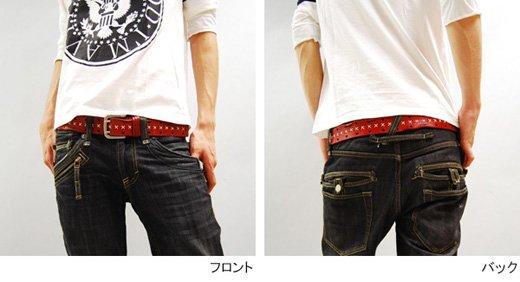 【Vintage Leather】ハンドステッチ&ダメージデザイン・ヴィンテージレザーベルト詳細1