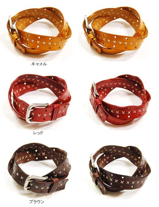 【Vintage Leather】ハンドステッチ&ダメージデザイン・ヴィンテージレザーベルト詳細2