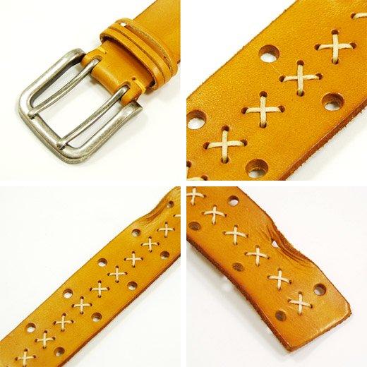 【Vintage Leather】ハンドステッチ&ダメージデザイン・ヴィンテージレザーベルト詳細3