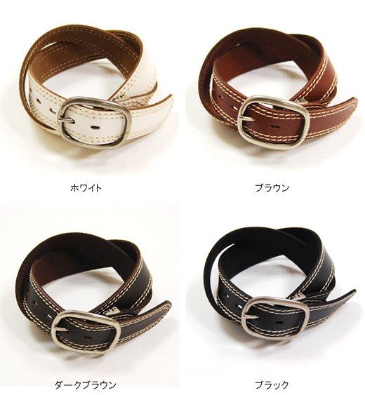 【Stylish Leather】Wラインステッチデザイン・シンプルレザーベルト詳細2