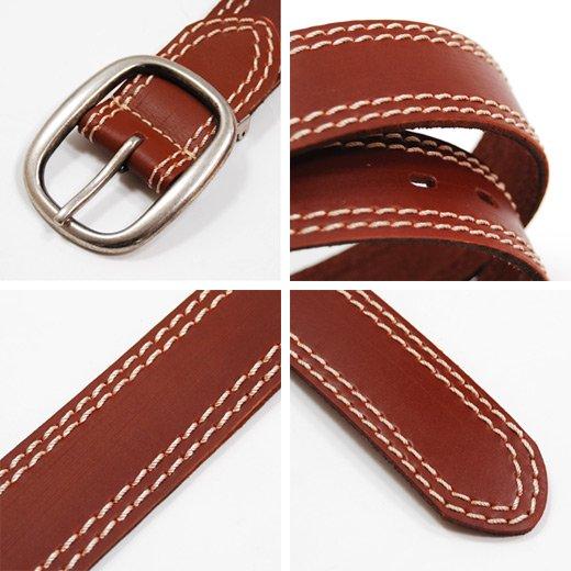 【Stylish Leather】Wラインステッチデザイン・シンプルレザーベルト詳細3