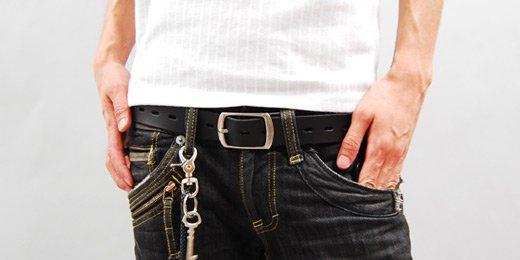 【Stylish Leather】1ホール&シャープデザイン・シンプルレザーベルト詳細1