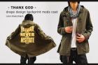【THANX GOD】後染めコットン&メッセージプリント・ミリタリードレープモッズコート
