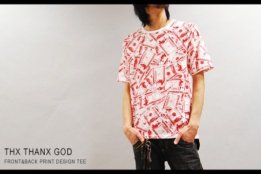 【THANX GOD】ドル札総柄プリント半袖Tシャツ