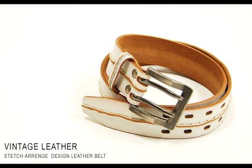 【Vintage Leather】フロントステッチデザイン・ヴィンテージレザーベルト