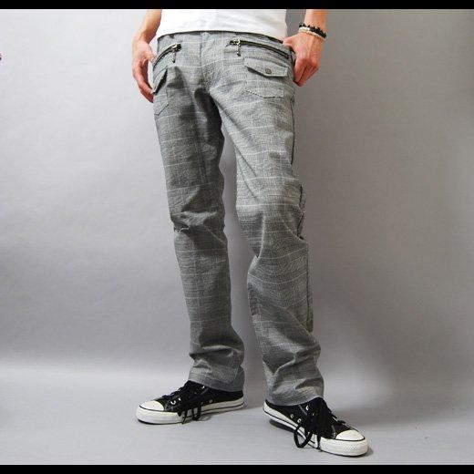 【穿くだけでキレイめスタイルを作る洗練チェックパンツ!】ブッシュポケット・チェック メンズパンツ
