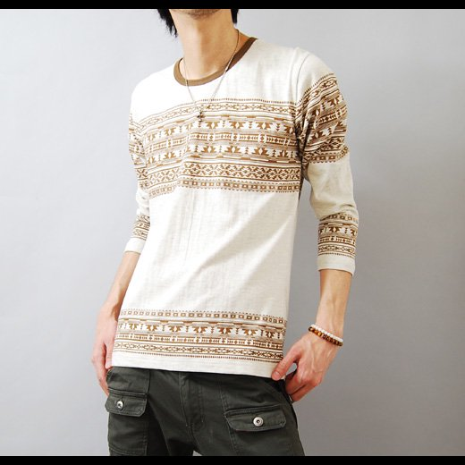 【デザインセンスで勝負する個性の1着!】エスニックプリント メンズ七分袖Tシャツ