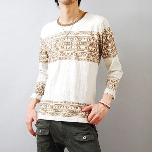 【デザインセンスで勝負する個性の1着!】エスニックプリント メンズ七分袖Tシャツ詳細1