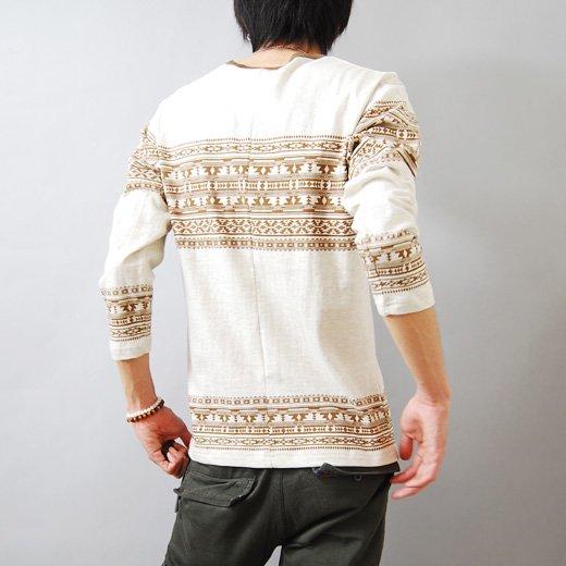 【デザインセンスで勝負する個性の1着!】エスニックプリント メンズ七分袖Tシャツ詳細2