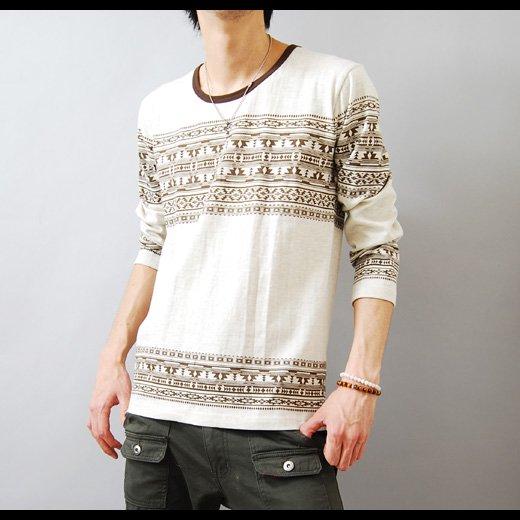 【シンプルなのにグッと目を惹くエスニックプリント】エスニックプリント メンズ七分袖Tシャツ