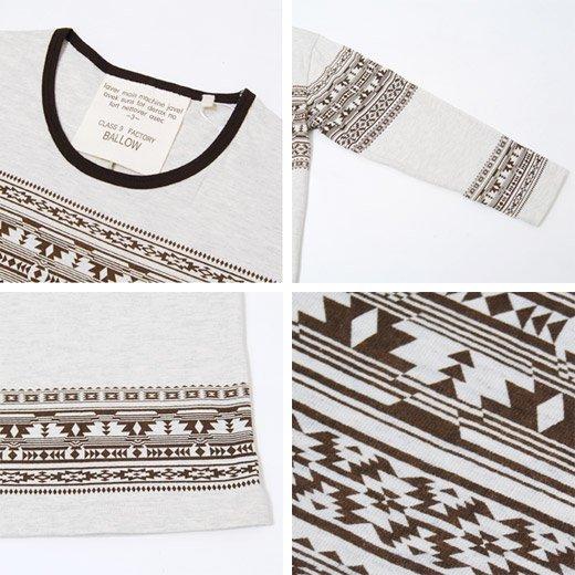 【シンプルなのにグッと目を惹くエスニックプリント】エスニックプリント メンズ七分袖Tシャツ詳細3