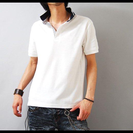 【キレイめ感が際立つシンプル&ホワイト!】襟裏ストライプ・シンプル鹿の子 メンズポロシャツ