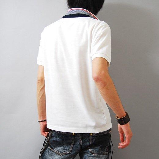 【キレイめ感が際立つシンプル&ホワイト!】襟裏ストライプ・シンプル鹿の子 メンズポロシャツ詳細2