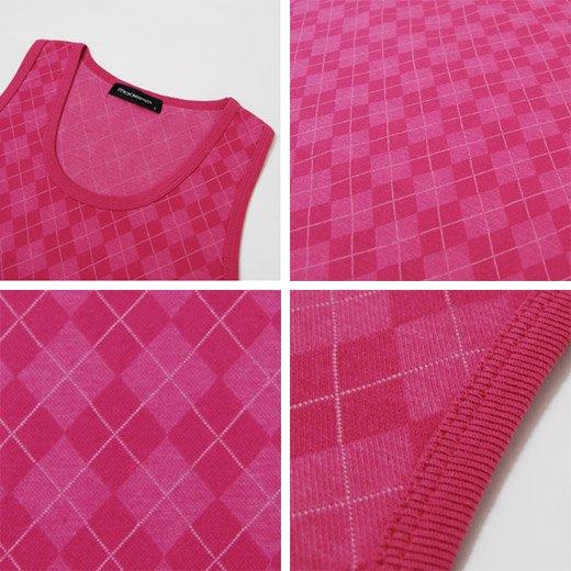 【夏のスタイリングに華やかなピンクの挿し色をプラス】アーガイルデザイン総柄 メンズタンクトップ詳細3