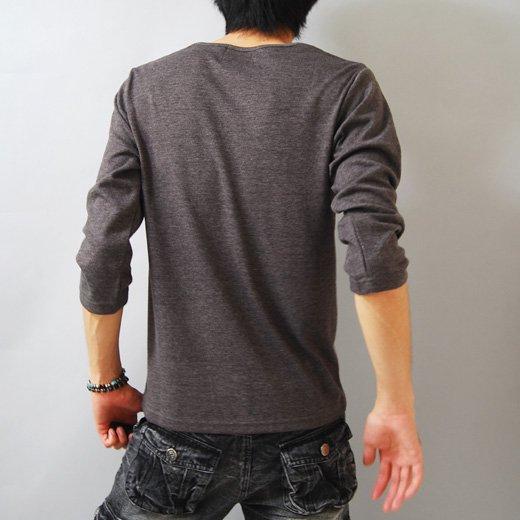 【シックに整った1枚だからサラッと着ても雰囲気◎】ダイヤプリント・メンズ七分袖Tシャツ詳細2