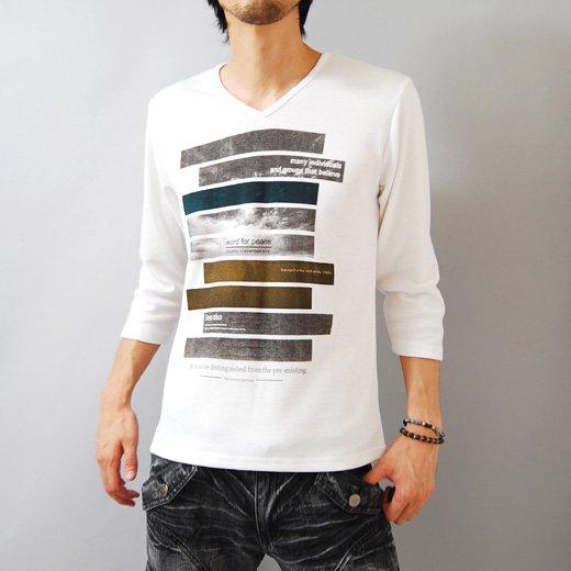 【プリントで秋の彩りを取り入れた今旬Tシャツ!】ボーダープリント・メンズ七分袖VネックTシャツ詳細1